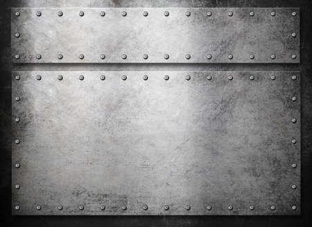 armoring: rustic metal plates over dark background