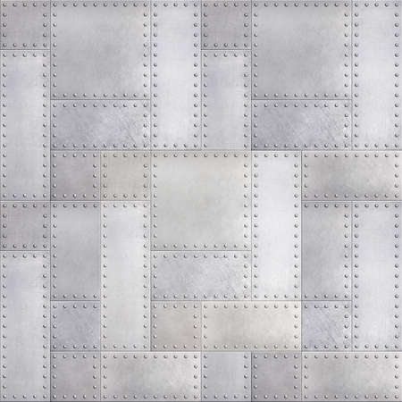 Steel metal plates background with rivets seamless