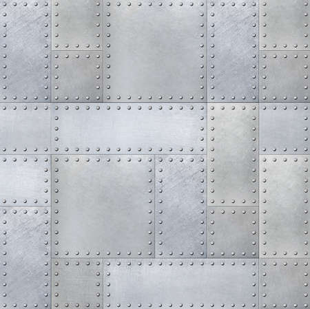 armoring: Steel metal plates background with rivets