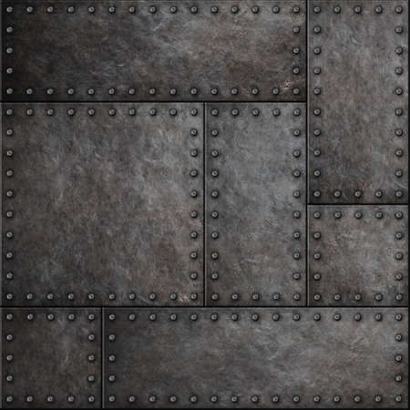 armoring: Dark metal plates with rivets seamless background or texture Stock Photo
