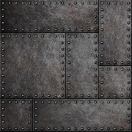 Placas de metal oscuro con remaches fondo transparente o textura