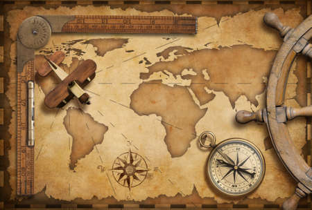 Old nautical map still life as adventure, travel and exploration concept