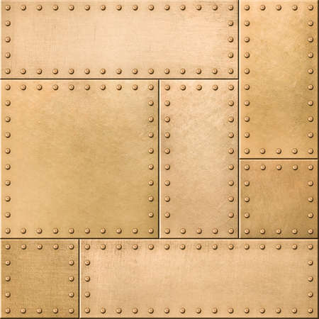 armoring: Gold metal plates with rivets seamless texture