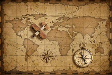 여행, 탐험 및 통신 개념으로 세계 항해지도 위에 작은 나무 비행기 스톡 콘텐츠
