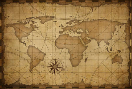 오래 된 해상 빈티지 세계지도 테마 배경 스톡 콘텐츠