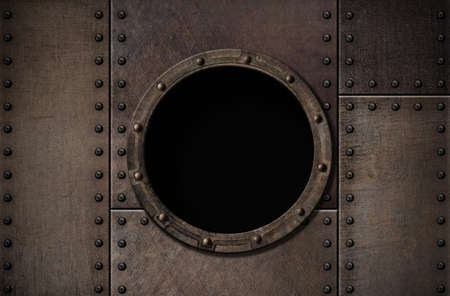 armoring: submarine porthole metal rusty background