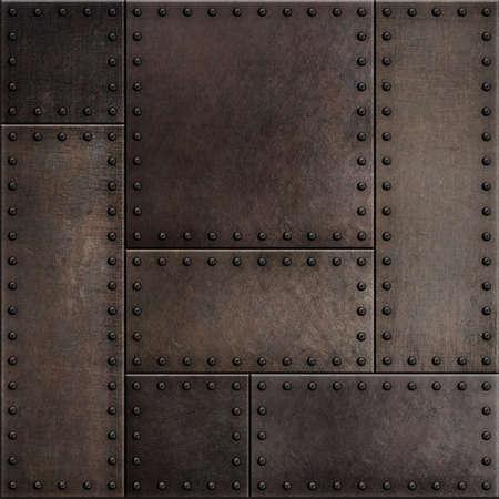 Dark rusty metal plates with rivets seamless background 版權商用圖片