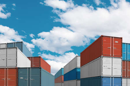 outdoor goods: export import cargo containers bulk in sea port or harbor 3d illustration