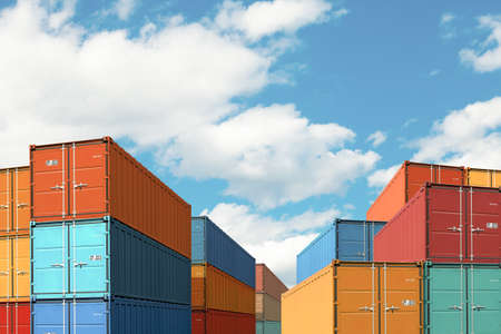 export import cargo containers bulk in port or harbor 3d illustration Stock Photo