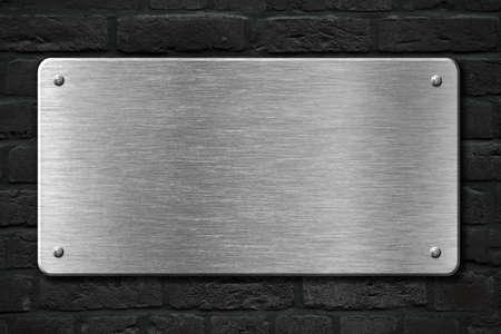 metal sheet: steel metal plate over brick wall 3d illustration