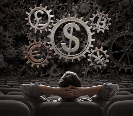 investor: investor or broker with currencies gears including bitcoin 3d illustration Stock Photo