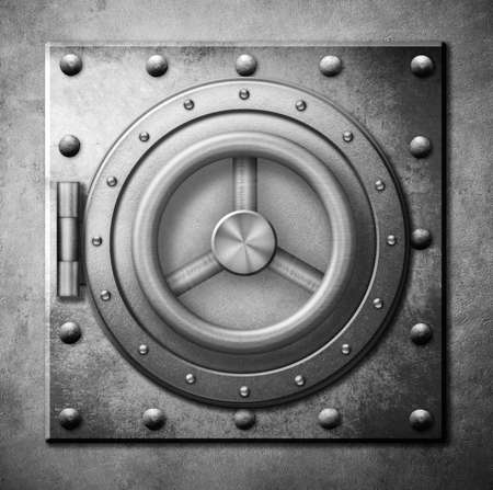 old square: metal safe door 3d illustration or icon Stock Photo