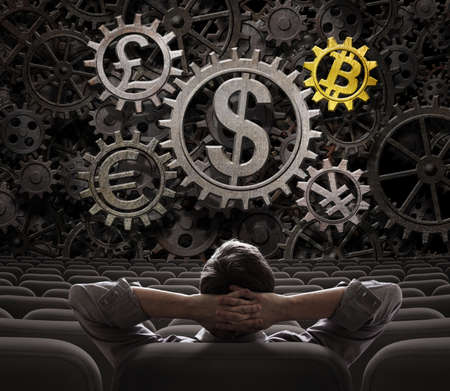 trader or investor looking on main currencies working gears including bitcoin 3d illustration
