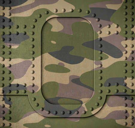 armoring: Army camouflage metal armor door with rivets background 3d illustration Stock Photo