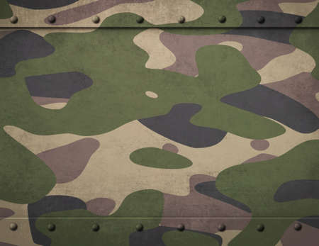 armoring: Army camouflage metal armor with rivets background 3d illustration Stock Photo