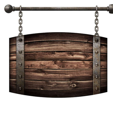 metal sign: Wooden barrel medieval signboard hanging on chains isolated 3d illustration Stock Photo
