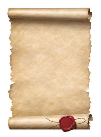 Old scroll or letter with wax seal isolated 3d illustration Stock Photo