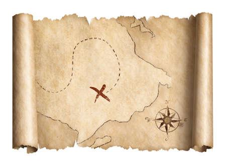 古い海賊宝物スクロール地図分離した 3 D イラスト