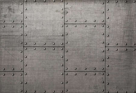 armoring: Dark metal plates with rivets background or texture
