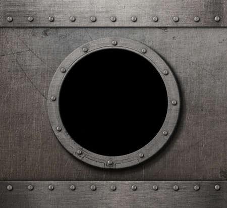 armoring: old submarine porthole rusty background Stock Photo