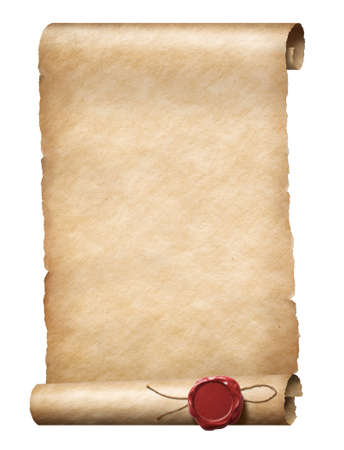 parhment scroll with wax royal seal Banque d'images