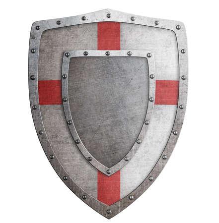 Old templar or crusader metal shield 3d illustration