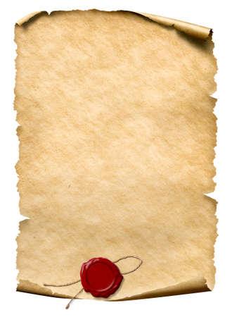 Parchemin avec cachet de cire isolé on white Banque d'images - 75758043