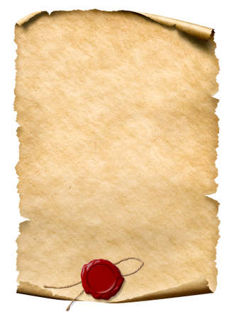 parchment with wax seal isolated on white Standard-Bild