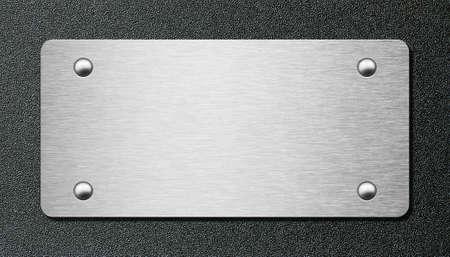 metal black: metal plate over black plastic plate 3d illustration