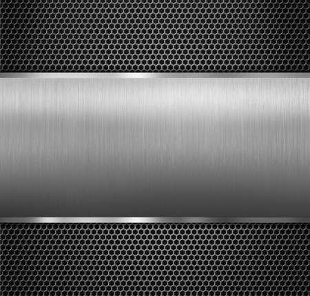 combined: metal panel over hexadecimal grid