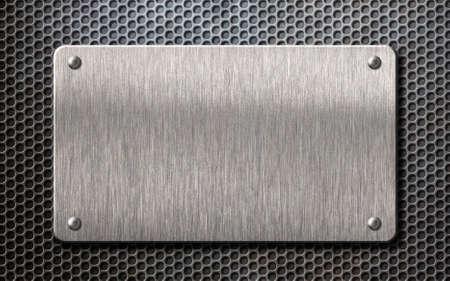 Metallplatte über Illustration des Kammgitterhintergrundes 3d Standard-Bild - 80984799