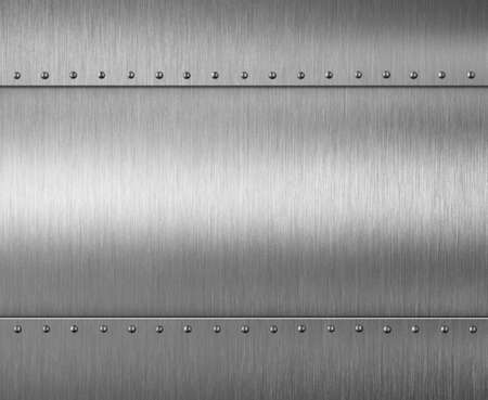 gray: brushed metal plate with rivets 3d illustration