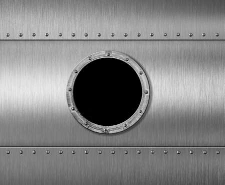 sheet metal: metal submarine or spaceship porthole window 3d illustration Stock Photo