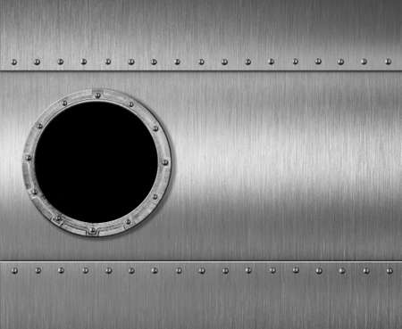 metal submarine or rocket porthole window 3d illustration