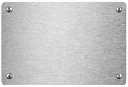 흰색 배경에 고립 된 볼트와 금속 플 라크