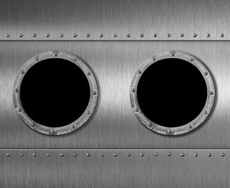 armoring: two metal submarine or spaceship porthole windows 3d illustration Stock Photo