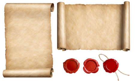 Old letter paper parchments with wax seal stamps set isolated 3d illustration Archivio Fotografico