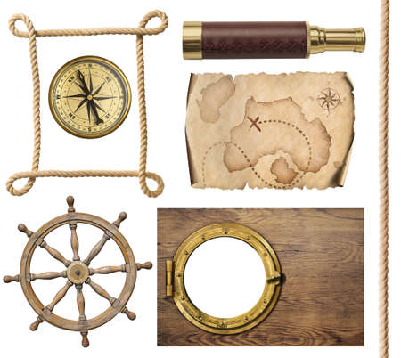 Nautische objecten touw, kaart, kompas, stuur en patrijspoort 3d illustratie Stockfoto - 76490015