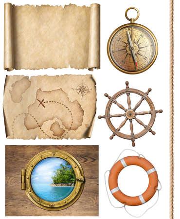Nautische objecten touw, kaarten, kompas, stuurwiel en patrijspoort 3d illustratie Stockfoto - 76490246