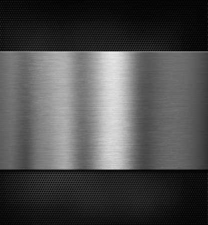 grille: metal panel over black grid 3d illustration