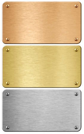 brushed: Steel, gold and bronze metal plaques with clipping path included 3d illustration