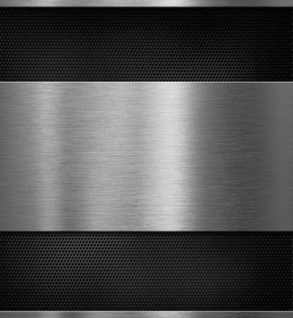 tecnología informatica: Panel de metal de aluminio sobre fondo negro de la rejilla