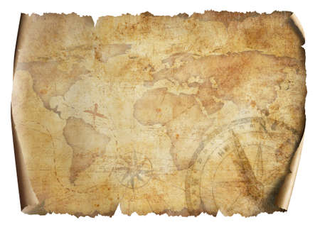 old world map isolated on white