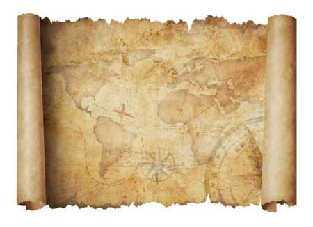 old scroll world map isolated on white