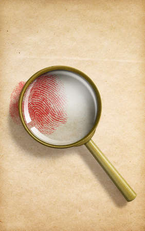 fingerprint through magnifying glass on paper 3d illustration Stock Photo