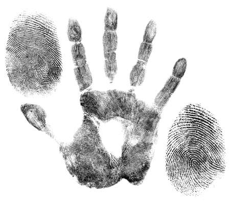 hand and finger prints for identification Stock Photo