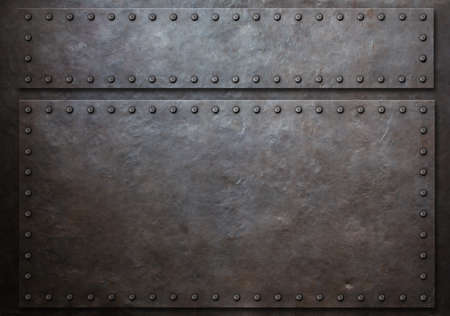 rivets: two stained steel plates with rivets metal background 3d illustration Stock Photo