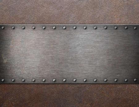 防錆金属背景 3 d イラストを古い鋼プラーク 写真素材
