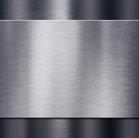 grey background texture: metal plate over dark metalic background 3d illustration Stock Photo