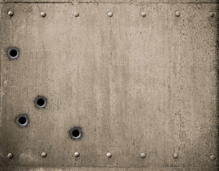 iron: metal plate with bullet holes 3d illustration